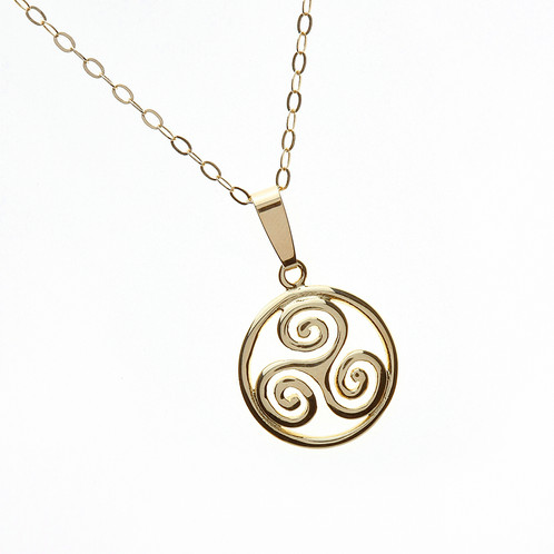 10k gold celtic triskele pendant based on the ancient spirals found carved in monuments such as newgrange the triskele is possibly the oldest of all celtic designs this beautiful pendant aloadofball Image collections