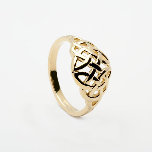 Ladies 14K Gold Celtic Knotwork ring - wide