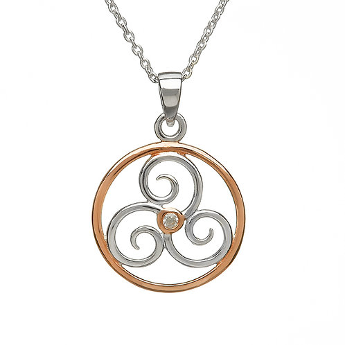 Silver & Rose Gold Triskele Pendant