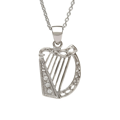Sterling Silver Harp with CZ Accents