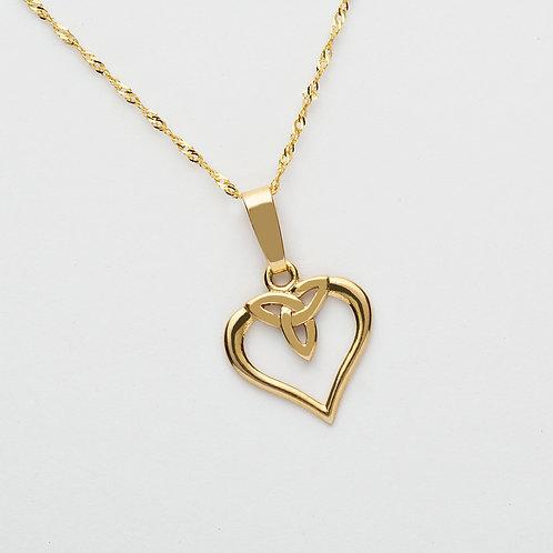 10 K Trinity Heart Pendant