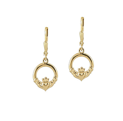 Handmade 10K Claddagh Drop Earrings