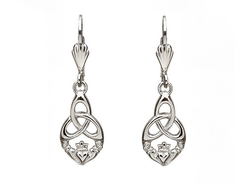 Sterling Silver Trinity Claddagh Earrings