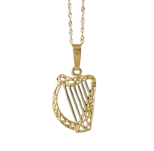 10K Irish Harp Pendant