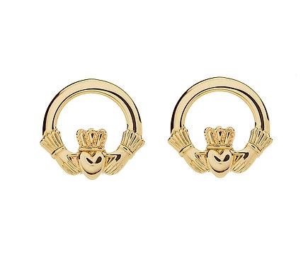 10K Gold Claddagh Stud Earrings