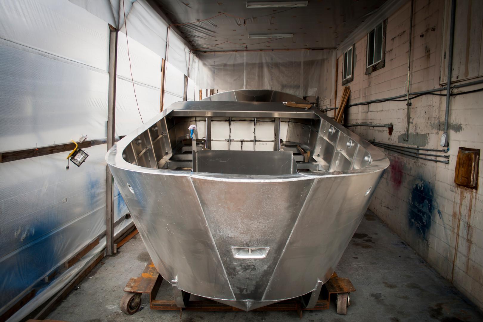 Seine Skiff in work shed