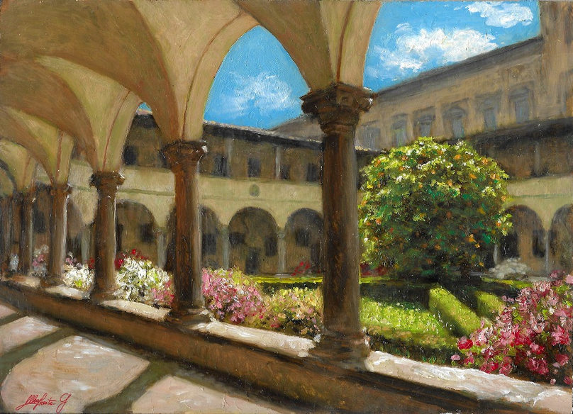 """""""SKETCH OF THE CLOISTER, BASILICA OF SAN LORENZO IN FLORENCE"""""""