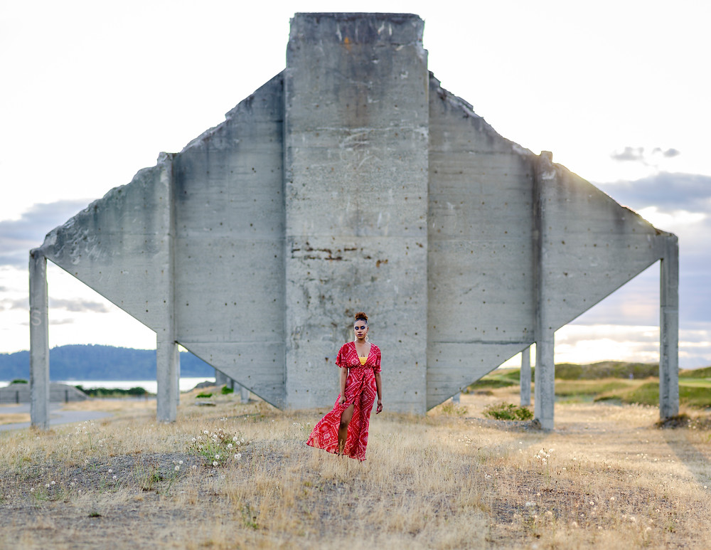 Portrait of Amira Hyneman in front of concrete at Chambers Bay Tacoma