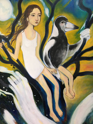 girl and magpie man (detail)