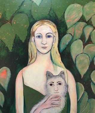 girl and a weird cat