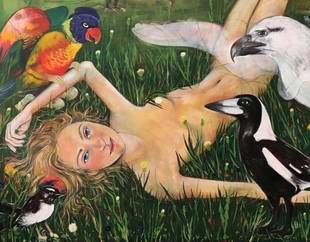 girl with birds (detail)