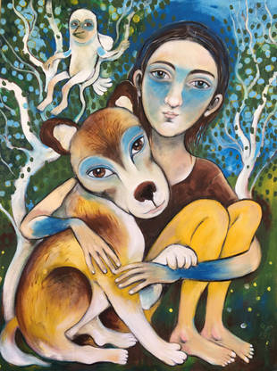 child and a dog