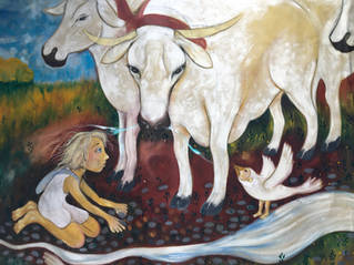 child with sacred cow