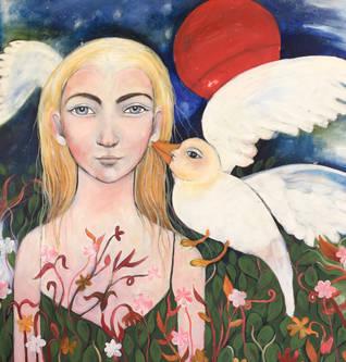 girl and bird and a sun