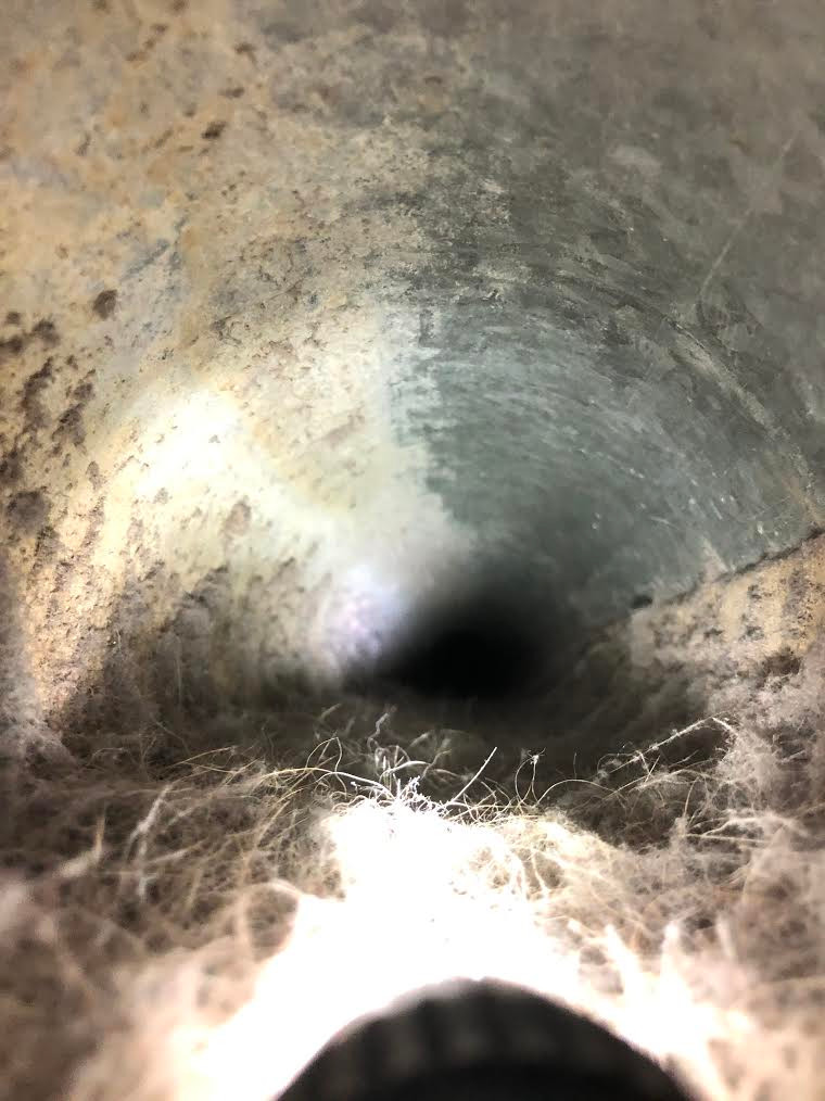 Clogged with allergens and pet dander before air duct cleaning services.