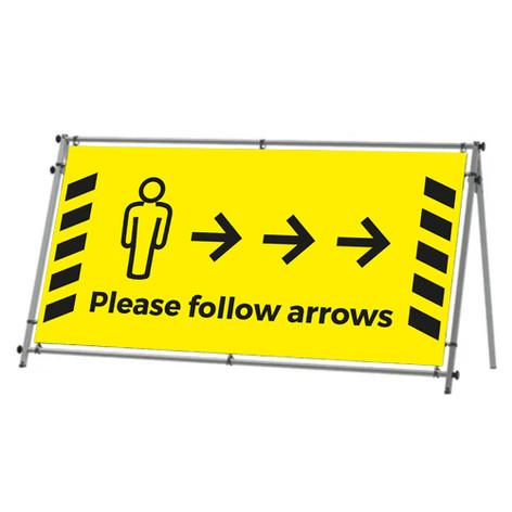 Follow the arrows social distancing banner frame