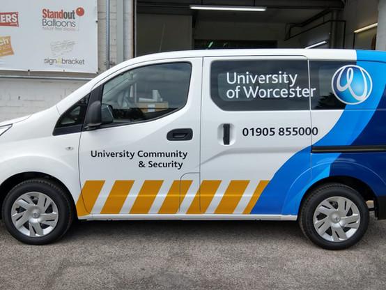 Part Wrapped University of Worcester Van