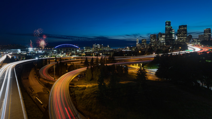 Downtown Seattle at night