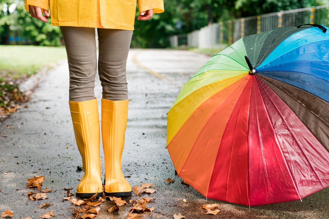 woman-rain-boots-standing-colorful-umbre
