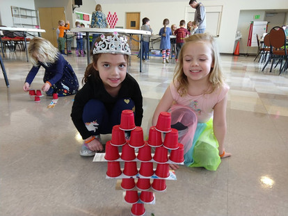 Pre-K having fun stacking cups