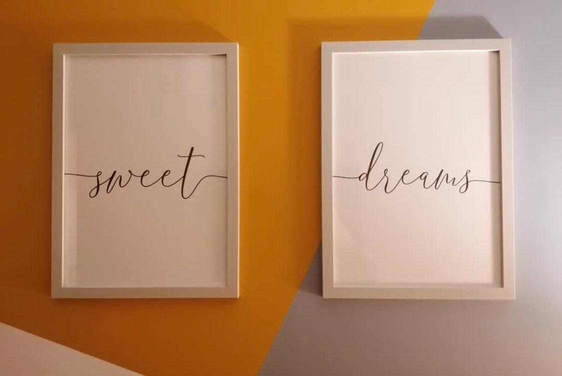 Sweet Dreams Print Bedroom Prints Double Prints Set Of 2 Prints Greyfoxdesigns