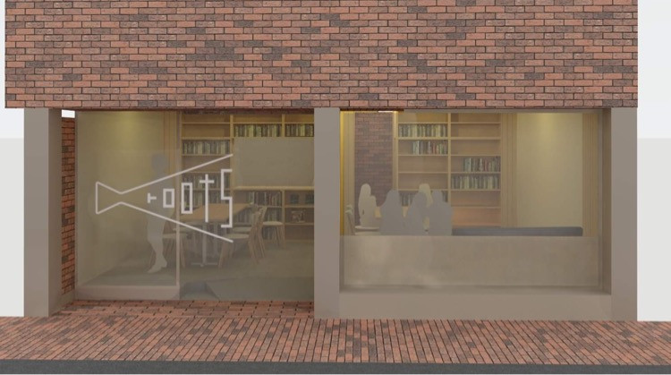 【rootsロゴ制作】完成したロゴマークを建築士さんがパースに入れて提案してくれたのは、みんなでペイントする企画