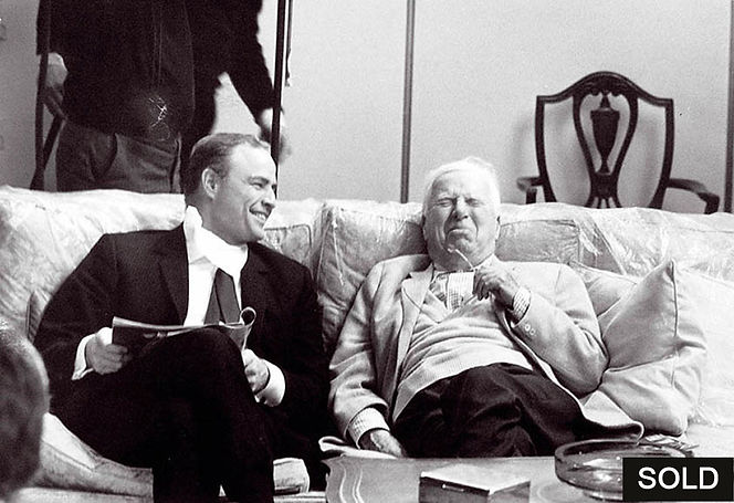 "Photo by Alfred Eisenstaedt, Charlie Chaplin and Marlon Brando, on the set of ""A Countess"", Hong Kong, 1966"