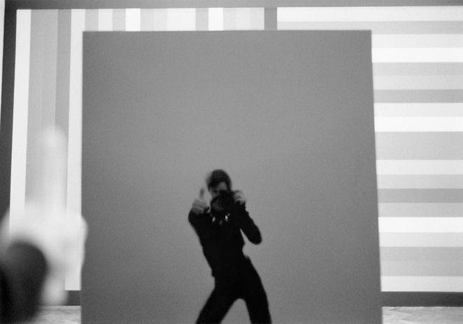 Photo by Sterenn Denys, Self-Portrait in G Major, Homage to Daniel Buren, 2005