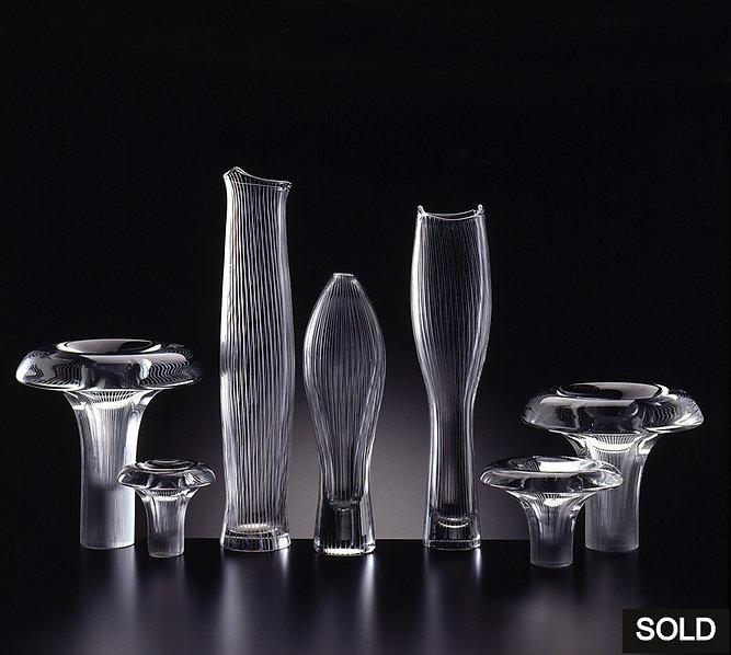 Tapio Wirkkala molded crystal, line cut, Tatti, 3561, 3545, Tuonelan Virta