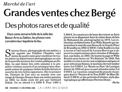 Grandes ventes chez Bergé, La Libre Belgique