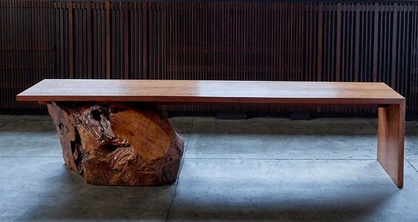 Bench in Madrona Burl Veneer Core log and Amber Satinwood