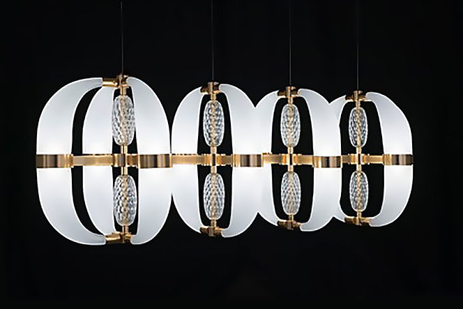 Lighting Suspension, glass and satin gold chrome