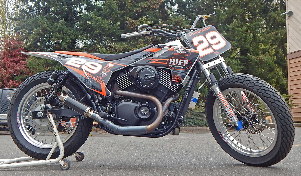 Steve Huff Motorsports Destination Harley Davidson XG750 modified for flat track racing