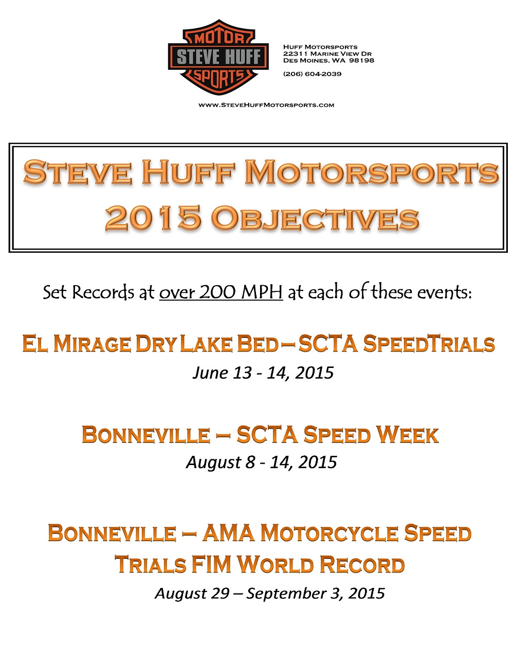 Steve Huff Motorsports landspeed racing objectives goals race records bonneville el mirage