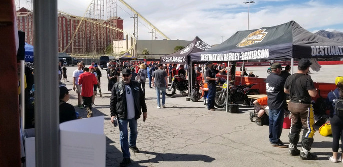 Destination Harley-Davidson Huff Motorsports pits at Roland Sands Designs Super Hooligan race