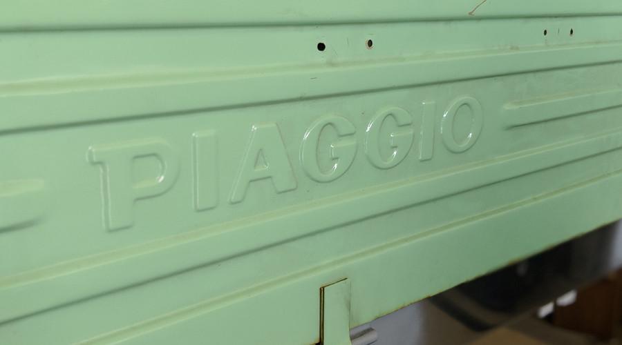 Pastel green Piaggio Ape trailer bed