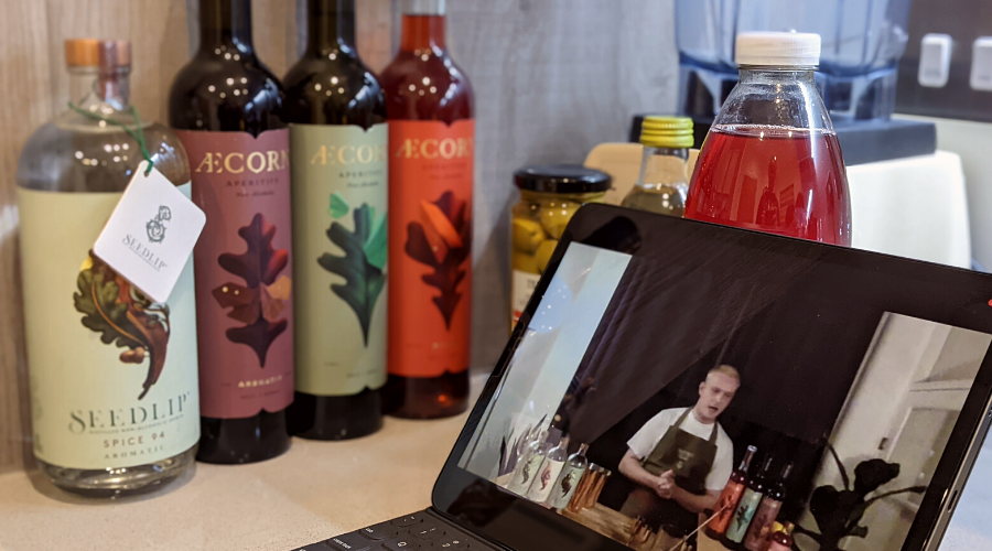 Featuring our ipad with the live masterclass, unopened Seedlip and Aecorn bottles ready to be used