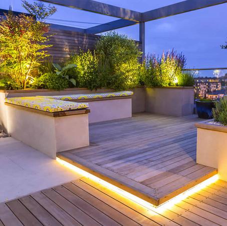 Iluminación de terrazas de noche