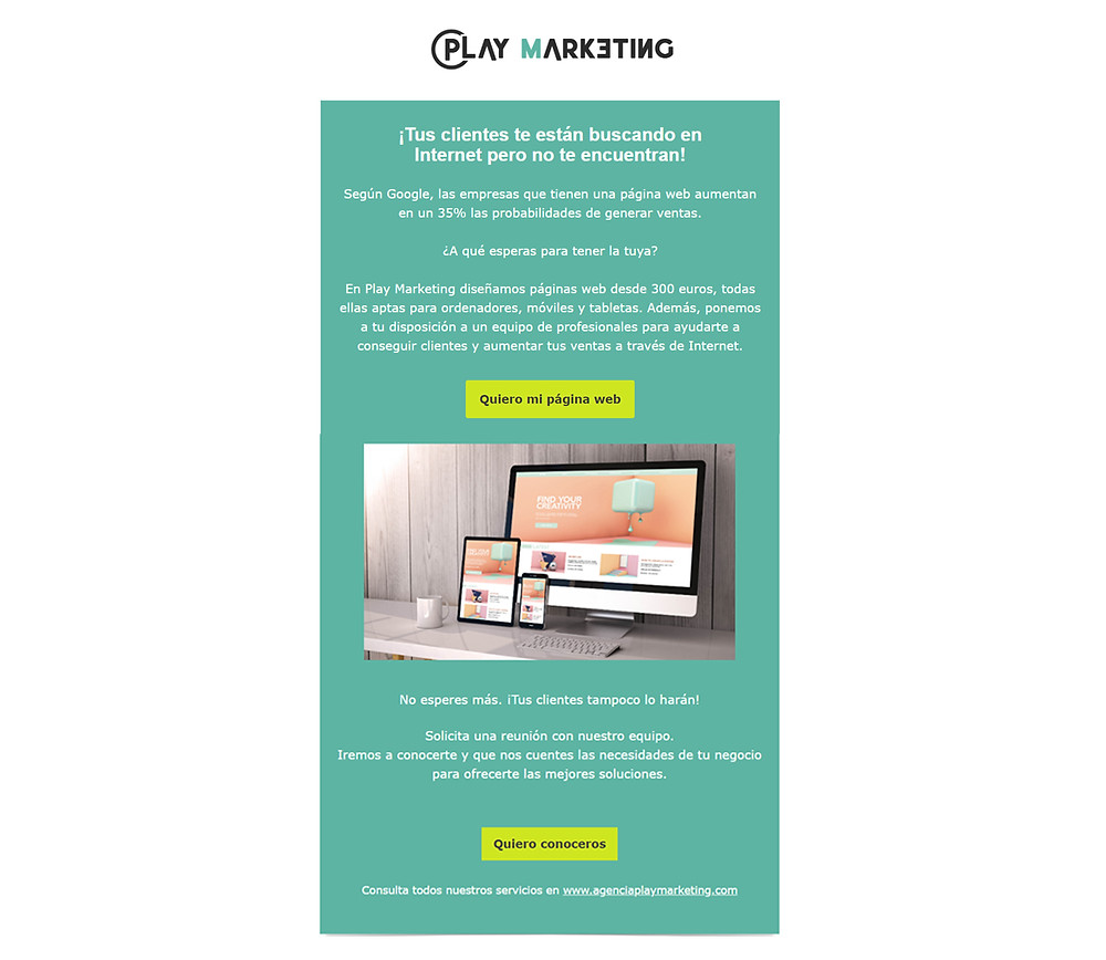 Ejemplo de email marketing