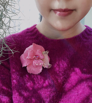 HC Pink flower brooch