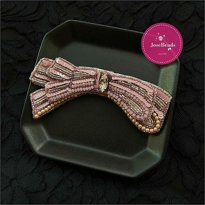 Crystal Ribbon Brooch (Pink)