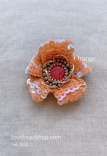 Orange flower sewing brooch