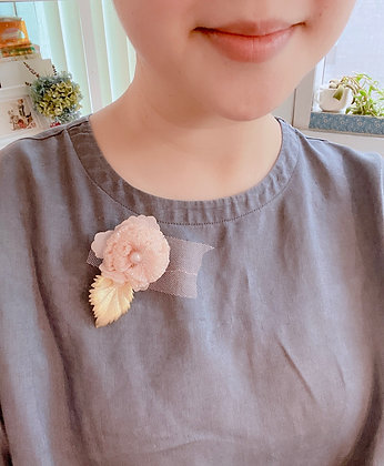 Peach color flower brooch