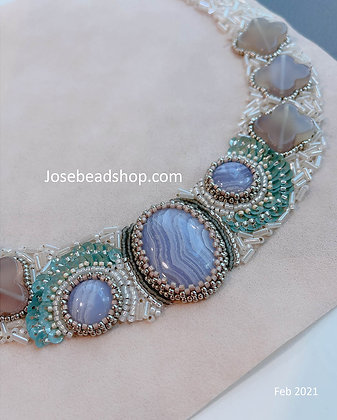 2021 Spring blue lace  necklace<Cabo 2101>