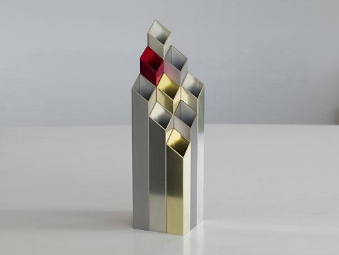 Décoration vase design Orgue en métal aluminium style industriel contemporain fabriqué en France par l'Alufacture