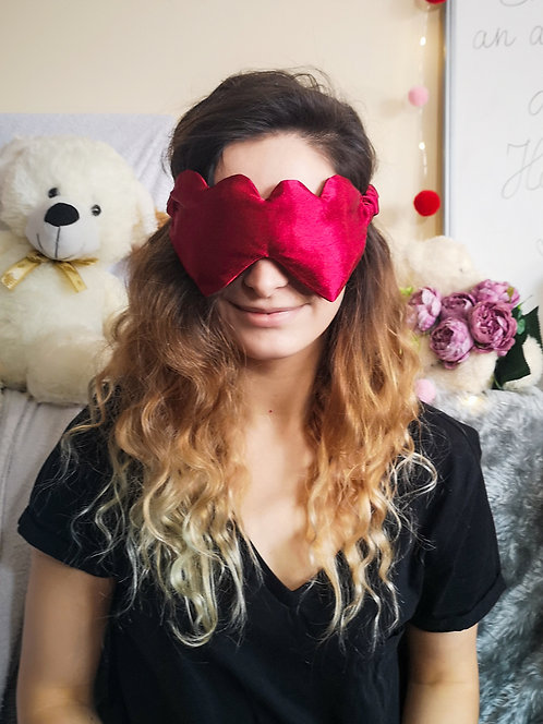Red Heart Shaped Satin Eye Cover Mask Blindfold