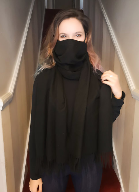 Black Cashmere feel Scarf Mask