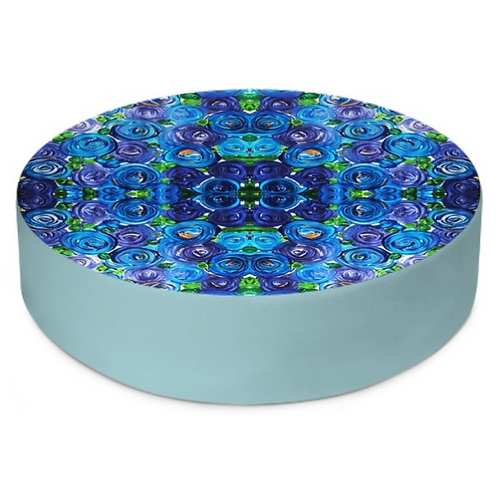 Blue Roses Round Floor Cushion
