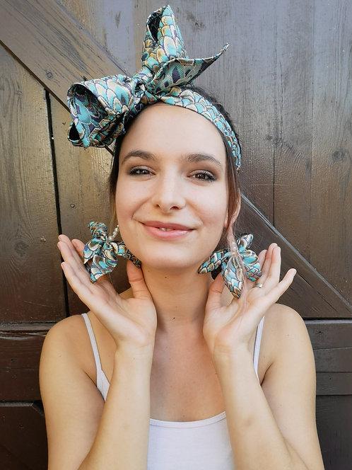 Zero Waste Luxe Blue Brocade Butterfly Ear-ring