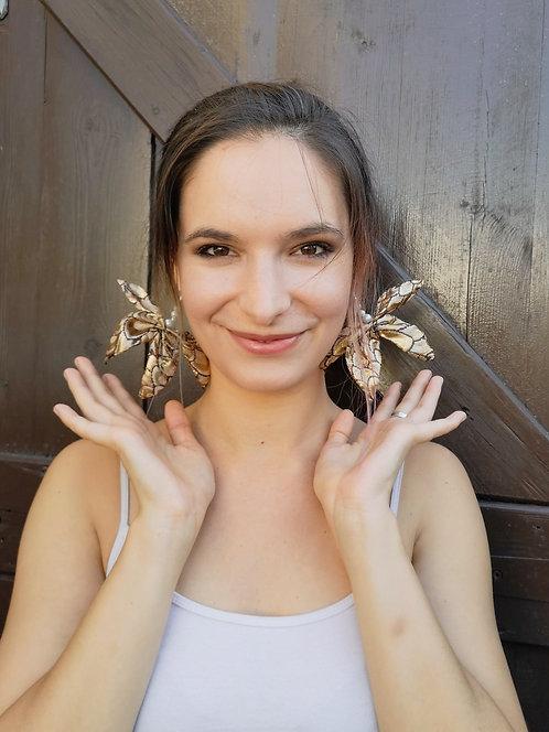 Zero Waste Luxe Gold Brocade Butterfly Ear-ring